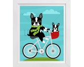 74D Dog Print - Boston Terrier and Puppy Dog on Bicycle Wall Art - Bicycle Print - Dog Wall Art - Boston Terrier Wall Art - Puppy Wall Art