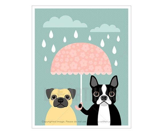 40F Dog Prints - Pug and Boston Terrier with Pink Chevron Umbrella Wall Art - Funny Dog Art - Pink and Blue Nursery Art - Pug Drawing