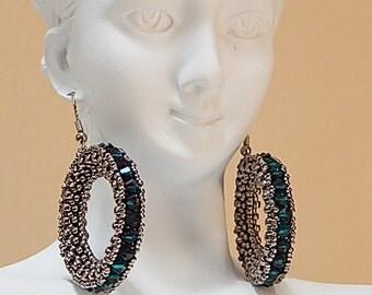 Crystal Hoop Earrings (Forest Green)