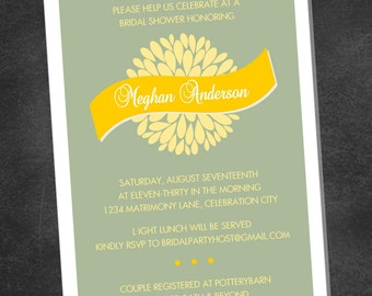 Mums Floral Wedding Bridal Shower Invitation (printable digital file)