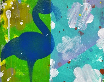 """Blue Flamingo in Sunshower- Original Mixed Media on Canvas Painting, 10"""" x 10"""""""