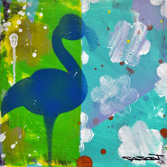 Blue Flamingo in Sunshower Original Mixed Media on Canvas # Sunshower Blue_021322