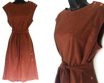 Vintage 70s Brown Faux Suede Dress L
