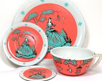 50's Tin Toy Tea Setting, Southern Belle & Birds by Ohio Art Co. 4 piece set.