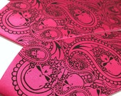 Mens Fuchsia necktie paisley skulls design and pocket square by