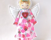 Angel Ornament, Valentine's Angel, Pink Angel Decoration, Modern Folk Angel, Blonde Haired Angel Decoration