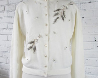 Vintage 1950s Ivory Cardigan with Beads and Sequins, size M