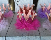 GLITTER CROWN with Tulle and Pearl,Red Crown,Gold Crown,Lavender Crown..Silver Crown..Pink Crown..Hot Pink Crown..Birthday Crown
