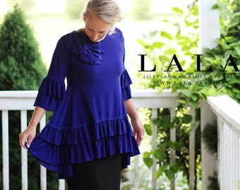 LillyAnnaKids Ladies Olivia Ruffled Top Shirt Peplum LALA