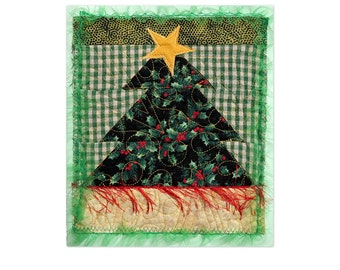 Christmas Card Handmade Quilted Fabric Pieced Patchwork HolidayTree Free USA Shipping