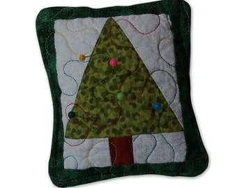 Quilted Christmas Tree Pincushion Paperweight Patchwork Pieced Organic Fill and Cotton Fabric