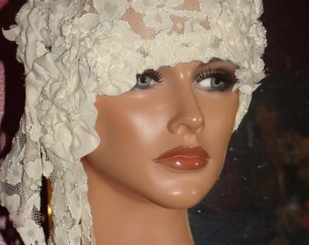 1920s Hat Flapper Cloche Lace Off White Summer Wrap Church