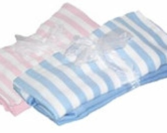 Personalized Receiving Blanket Set of 2  Pink Blue Stripe Solid Shower Gift