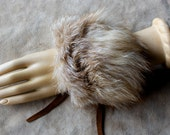 Fur bracelet - Real amber fox fur bracelet or anklet with recycled leather straps for neotribal costume and festival wear