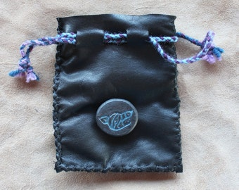 Recycled black leather drawstring pouch with ceramic wolf button bag for tarot runes dice