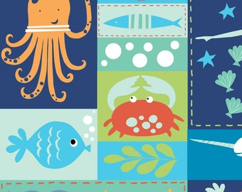 Sealife Sea Life Patchwork - Under the Sea by Monaluna Organic Fabric -  100% Organic Cotton Poplin
