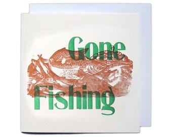 Letterpress Woodblock Greetings Card - Gone Fishing