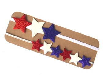 50% OFF Mommy and Me Patriotic Glitter Star Headband Set   Red, White and Blue Star Headband   Glitter Star Headband   4th of July Headband