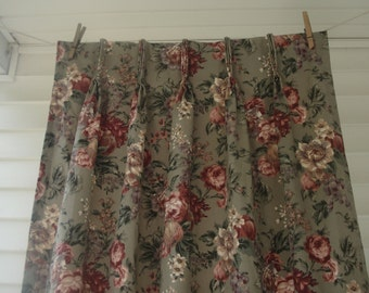 Gray and pink floral curtains - 3 panels - dramatic peonies