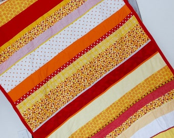 Flannel Strip Quilt-42 x 60 inches-Red Lady Bug , red lady bug--Red, Orange, and Yellow OOAK