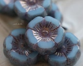 10% off GILDED SKY PANSIES .. New 6 Picasso Czech Glass Flower Beads 11-12mm (5321-6)