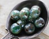 GILDED DEEP OCEAN .. New 10 Picasso Czech Druk Glass Beads 6mm (5389-10)