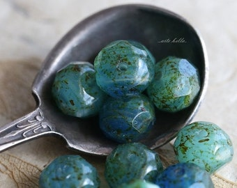 10% off POND No. 2 .. NEW 10 Premium Czech Picasso Rondelle Glass Beads 6x8-9mm (5199-10)