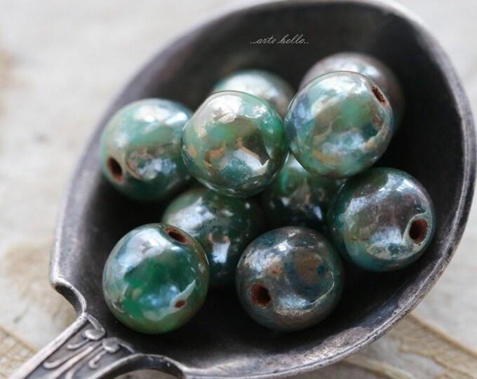 GILDED DEEP OCEAN .. 10 Picasso Czech Druk Glass Beads 6mm (5389-10)