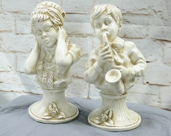 Vintage 70s Funny Victorian Kids Playing Saxaphone Practice Statues Busts Resin Children Humor Gift Musician Siblings