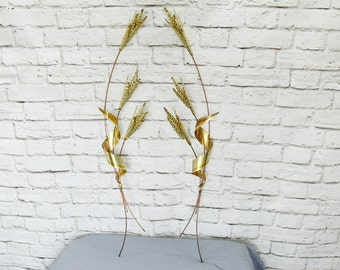Large Vintage 70s Brass Wheat Grass Metal Hanging Wall Art Set 2