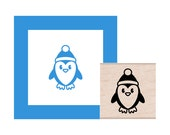 Winter Christmas Penguin with Hat Rubber Stamp