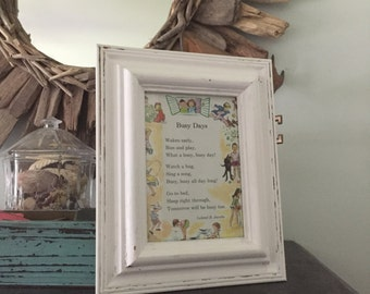 "Vintage Framed 1960's Childrens Poem in Beachy Frame Poem ""Busy Days"" by Leland B. Jacobs"