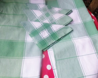two pretty woven  cotton picnic table cloths 44x44 inch  and 3 matching napkins