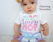 Baby Girl Clothes, Toddler Girl Clothes, Baby Girl Bloomers, Easter Miss Bunny Hop Glitter Shirt and High Waist Bloomers