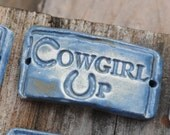 Cowgirl Up...a handmade pottery cuff bead with an attitude in stormy blue