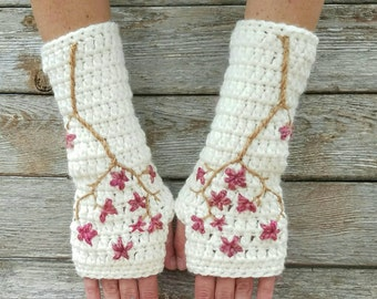 Cherry Blossom Fingerless Gloves Wool Armwarmers Wool Gloves Womens Arm Warmers Sakura Cream Pink Texting Gloves - MADE TO ORDER
