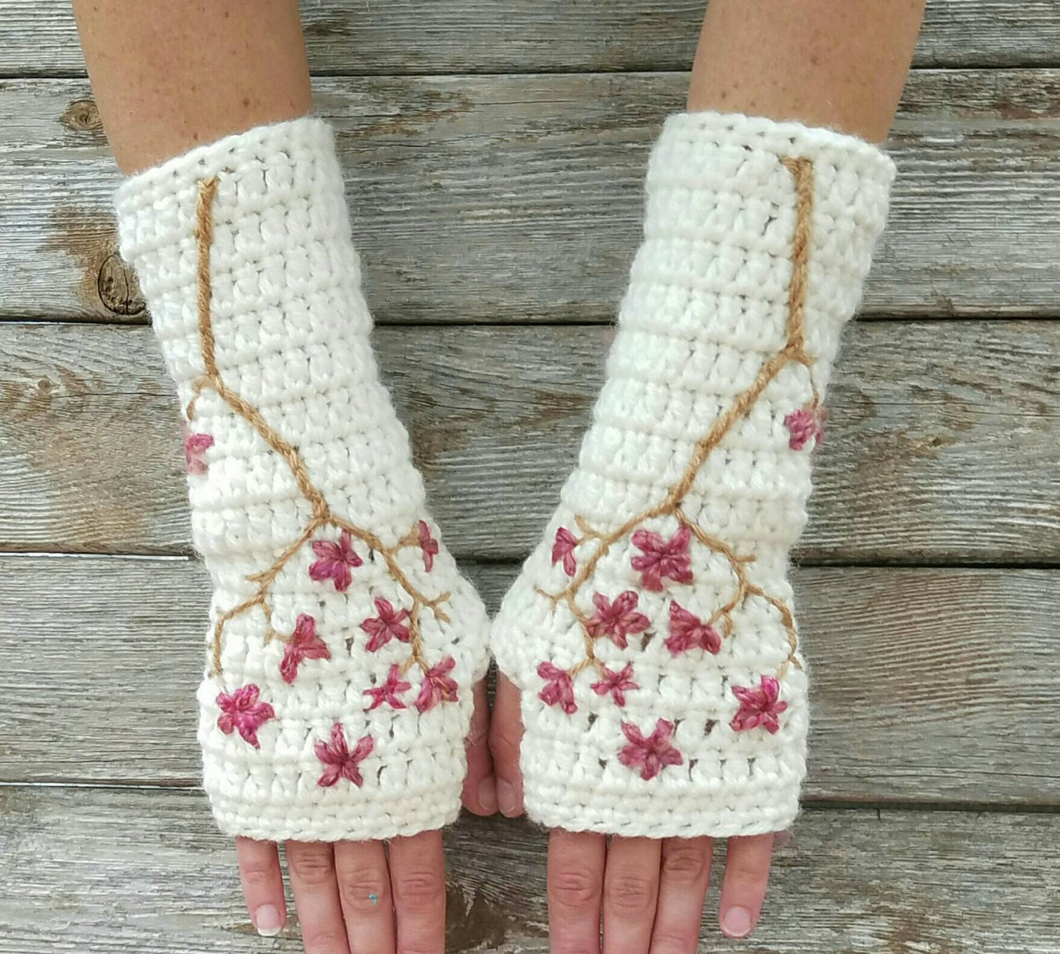 Driving texting gloves - Cherry Blossom Fingerless Gloves Wool Armwarmers Wool Gloves Womens Arm Warmers Sakura Cream Pink Texting Gloves Made To Order