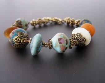 Rustic Bead Bracelet, Southwestern Bead Bracelet, Lampwork Glass Bracelet, Turquoise Blue Orange Jewelry
