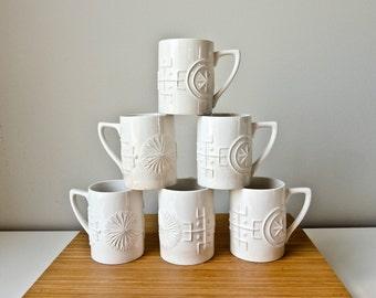 Mid Century Cups, White Modern Mugs, Susan Ellis, Totem, Portmeirion