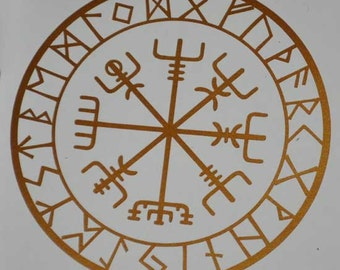 Viking protection runes vegvisir compass talisman copper vinyl decal