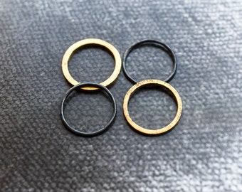 Black and Gold Stack Rings, Stack Ring Set, Multiple Ring Set, Stack Rings, Keum Boo, Gold and Black Ring Set, Stackable Rings, Unisex Rings
