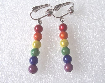 Miracle Bead Rainbow Earrings - Clip-on or Pierced