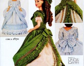 "Sewing Pattern for 1880 Dress for 11.5"" Fashion Doll, 2 Victorian Style Dresses Vogue 7698 or 608 UNCUT"