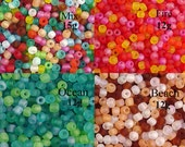 Glass Seed Bead 10g 6/0 Transparent FROSTED CHOICE Mix Fire Ocean Beach 3-4mm (1012see06m-01)