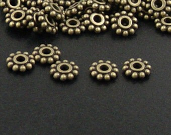 CLEARANCE Bead Spacer 100 Antique Bronze Flower Daisy 6.5mm NF (1020spa06z1)os