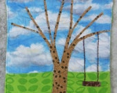 Mug Rug, Coaster or Mini Quilt Bright and Scrappy Rustic Tree and  Swing