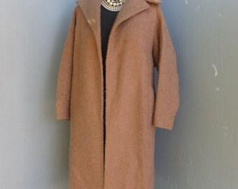 Vintage 1960s Boucle SWING Coat,  J.J. O'donnell Fabric, Brown, Ladies Coat, Full Length Coat, Dress Coat