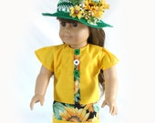 18 Inch Doll Dress Sunflower Dress and Hat Gold and Green Doll Dress Summer Doll Dress American Girl Doll Dress Am Girl Doll Dress Green Hat