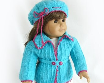 Doll Sweater and Hat Aqua and Rose Doll Sweater American Girl Doll Knit Jacket 18 inch Doll Aqua Sweater and Hat Am Girl Doll Aqua Sweater