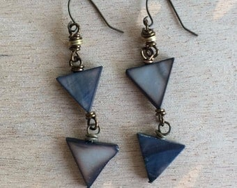 Blue Triangles Dangle Earrings